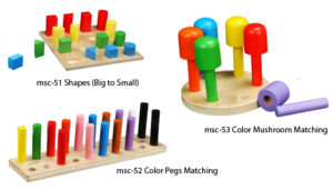 Toys for shapes, sizes and colors
