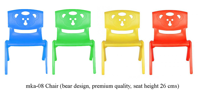 image of plastic chairs for play school mka-08