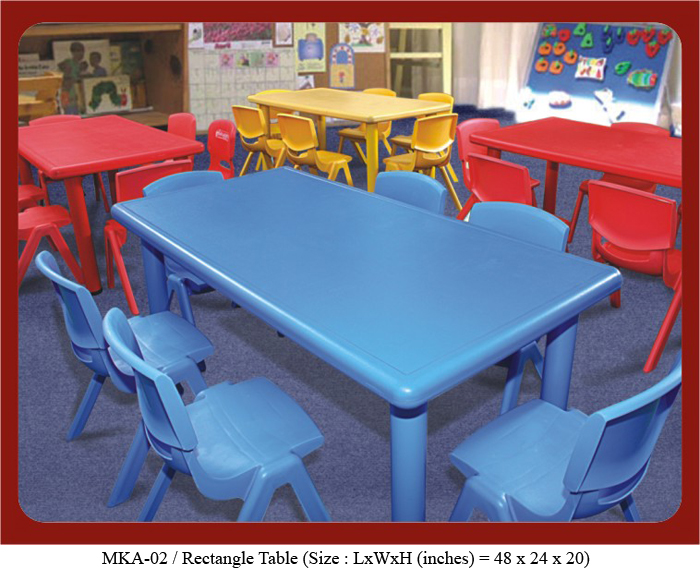Image of play school furniture mka-02 rectangle table. The size of the kids school table is 48 x 24 x 20 inches