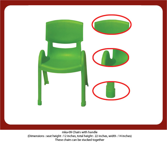 play school chairs with side support for play schools