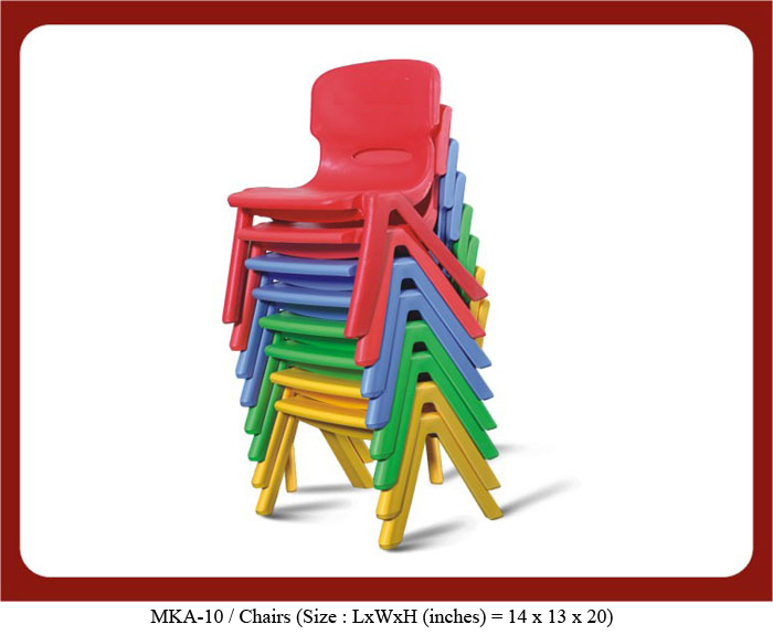 image of plastic chairs for play school mka-10