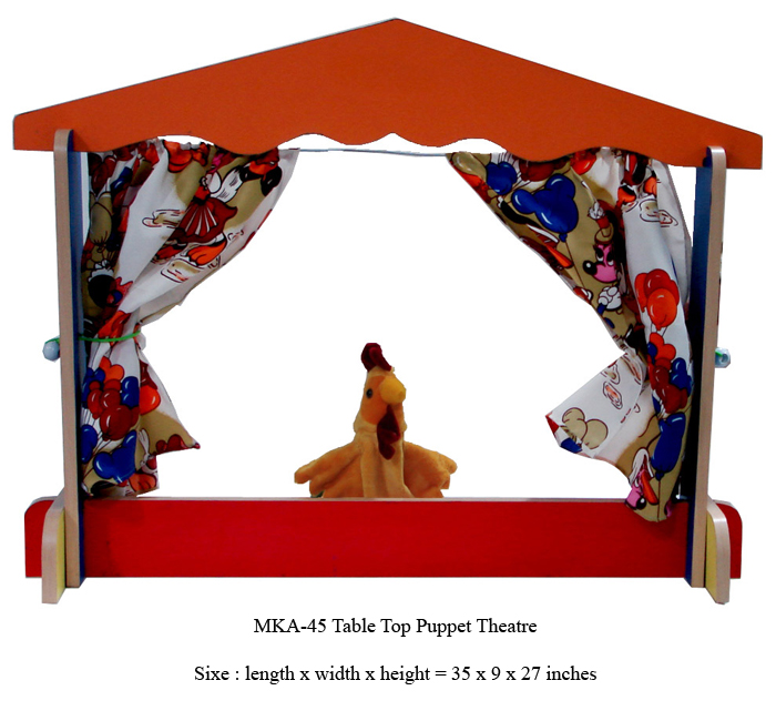 wooden table top puppet theatre