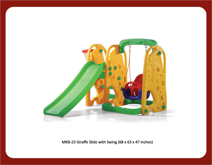image of mkb-23 giraffe slide with swing for play school