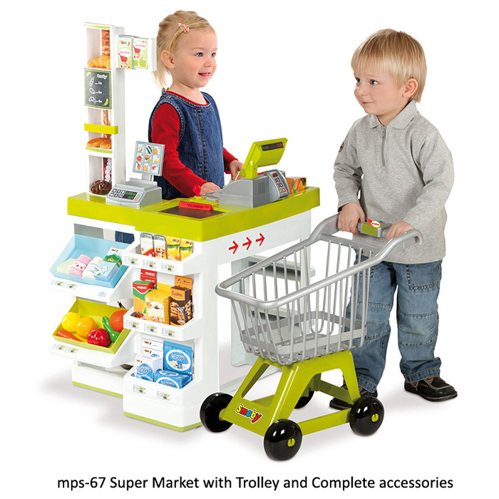 image of mps-67 super market with trolley and accessories for play schools