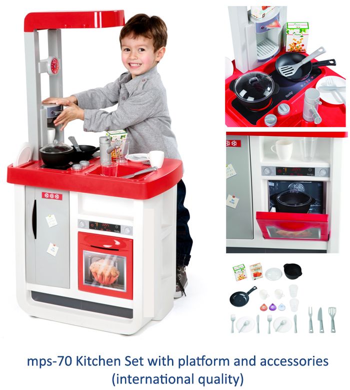 image of role play kitchen with accessories for play school