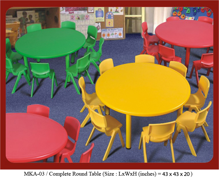 Image of play school furniture online in India of Round table. The size is 43 inches in diameter