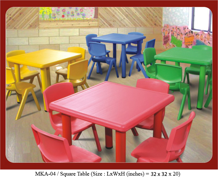 play school tables square shaped