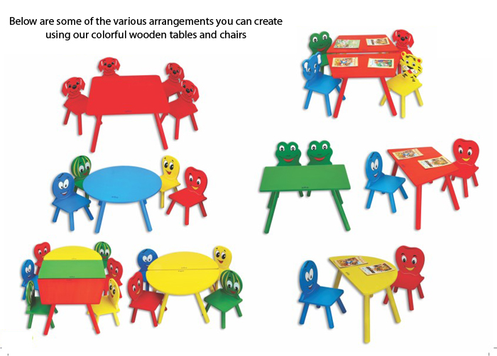play school table and chairs set wooden