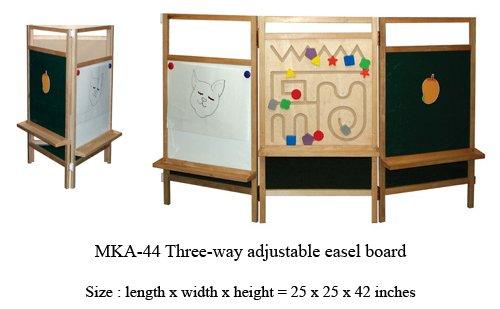mka-44 Three way adjustable wooden easel board for kids in play schools