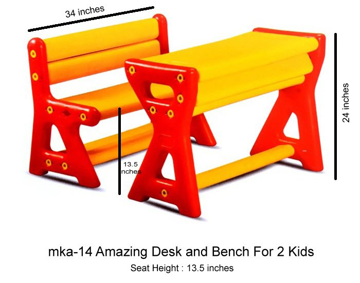 mka-14 Amazing desk and bench for 2 kids