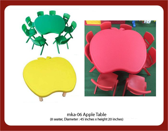 mka-06 Apple Table. The table top is Plastic with metallic legs and metal framework