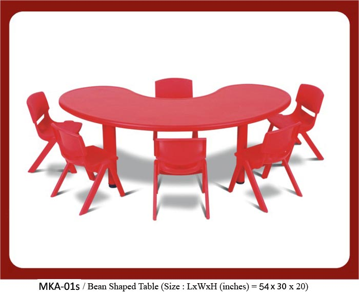 Image of mka-01s bean shaped table for play school. The size is 54 x 30 x 20. To know the play school furniture price list in India, please contact us at 9930960380