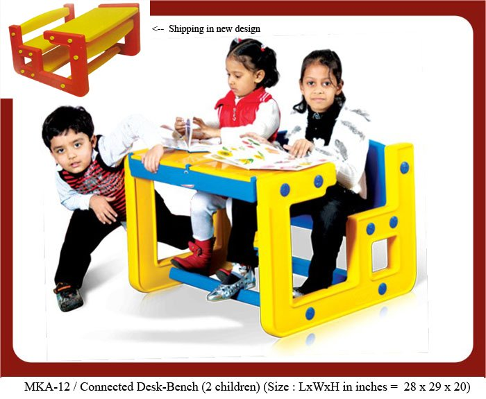 Plastic play school benches for 2 kids. mka-12 Connected desk bench