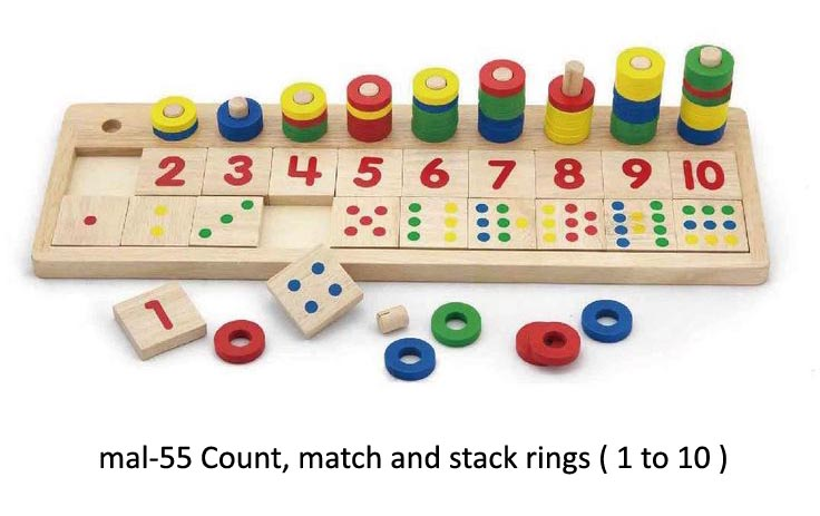 mal-55 count, match and stack rings for play school