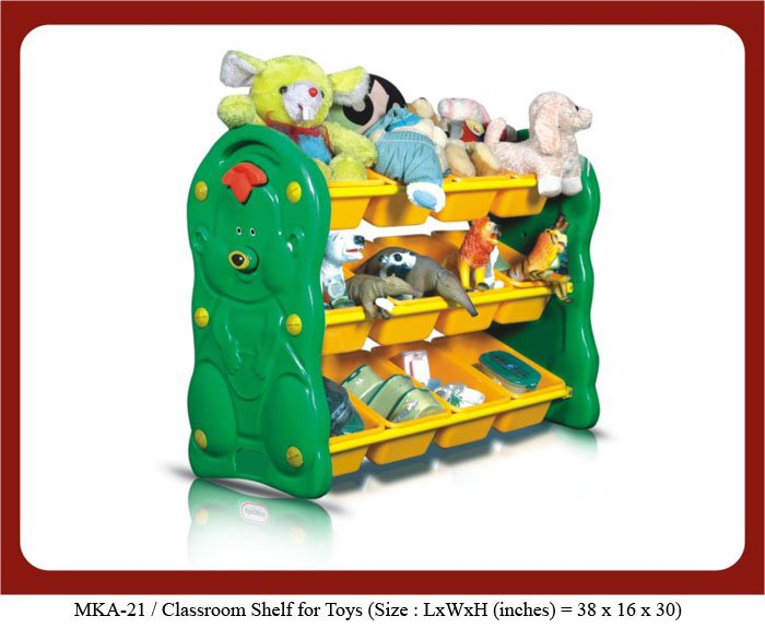 Plastic shelf or storage unit for preschools Image