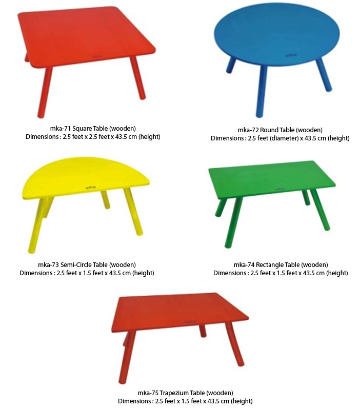 wooden furniture for play schools. Wooden tables