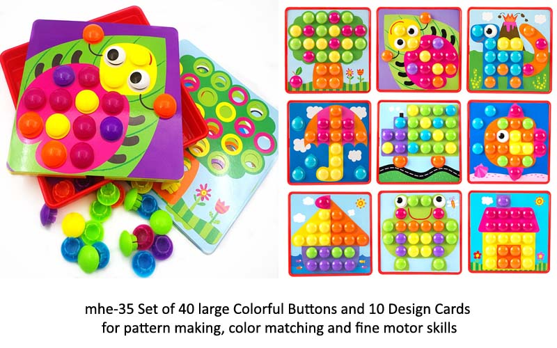 mhe-35 set of 40 large colorful buttons with 10 design cards