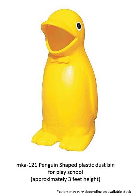mka-121 penguin shaped plastic dust bin for play school