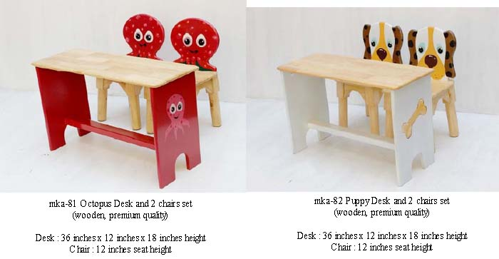 mka-81 and mka-82 octopus and puppy desk and chairs set for play school