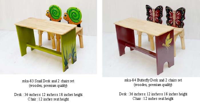 mka-83 and mka-84 Snail and Butterfly Desk and Chairs for play school