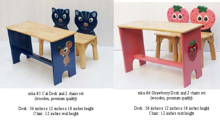 mka-85 and mka-86 cat and strawberry desk and chairs set for play school