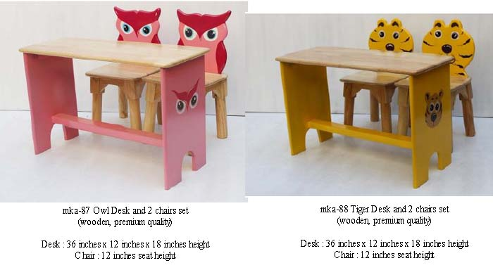 mka-87 and mka-88 owl and tiger desk and chairs for play school