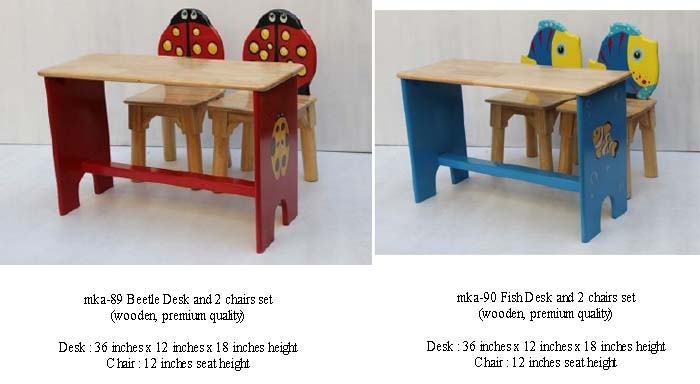 mka-89 and mka-90 beetle and fish desk and chairs set for play school